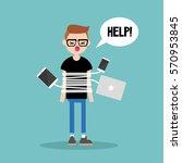 new technologies addiction.... | Shutterstock .eps vector #570953845