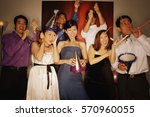 group of friends having a party ... | Shutterstock . vector #570960055