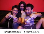 young men playing with video... | Shutterstock . vector #570966271