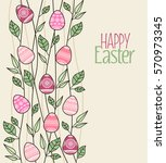 vector easter decoration with... | Shutterstock .eps vector #570973345