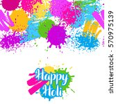happy holi colorful seamless... | Shutterstock .eps vector #570975139