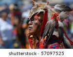 WEST VANCOUVER, BC, CANADA - JULY 10: Native Indian man participates in annual Squamish Nation Pow Wow on July 10, 2010 in West Vancouver, BC, Canada - stock photo