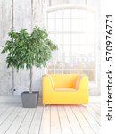 modern bright interior with... | Shutterstock . vector #570976771