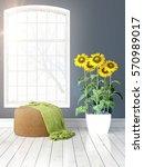 modern bright interior with... | Shutterstock . vector #570989017