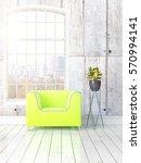 modern bright interior with... | Shutterstock . vector #570994141