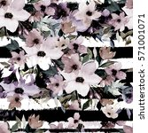 Stock photo watercolor seamless pattern on striped background floral print 571001071