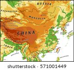 china physical vector map with...   Shutterstock .eps vector #571001449