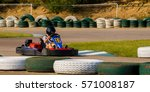 young girl on gocart | Shutterstock . vector #571008187