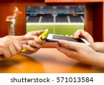 friends using mobile phone and... | Shutterstock . vector #571013584