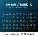 set of 50 minimal thin line... | Shutterstock .eps vector #571026169