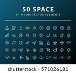set of 50 minimal thin line... | Shutterstock .eps vector #571026181