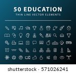 set of 50 minimal thin line... | Shutterstock .eps vector #571026241