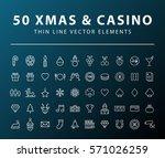 set of 50 minimal thin line... | Shutterstock .eps vector #571026259