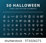 set of 50 minimal thin line... | Shutterstock .eps vector #571026271