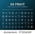 set of 50 minimal thin line... | Shutterstock .eps vector #571026349
