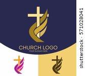 church logo. christian symbols. ... | Shutterstock .eps vector #571028041