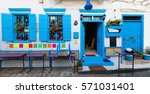 Blue Painted Wooden Window...