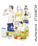 people getting fit nutrition... | Shutterstock . vector #571038739
