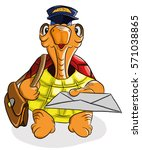 funny turtle postman holding a... | Shutterstock .eps vector #571038865