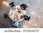 top view of university students ... | Shutterstock . vector #571054375