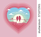 love birds scene in heart happy ... | Shutterstock .eps vector #571072501