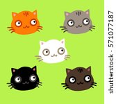 set of cute cats. vector... | Shutterstock .eps vector #571077187