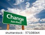 change just ahead green road...   Shutterstock . vector #57108064