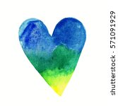 watercolor love heart... | Shutterstock . vector #571091929