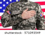 soldier with hand on heart