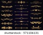 vector set gold vintage... | Shutterstock .eps vector #571106131