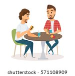 two happy male friends eating... | Shutterstock .eps vector #571108909
