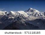 Small photo of Everest Peak and Himalaya Everest mountain range panorama