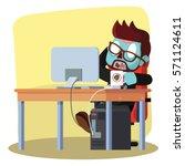 zombie businessman drinking... | Shutterstock .eps vector #571124611