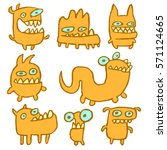 yellow monsters emoticons set.... | Shutterstock .eps vector #571124665