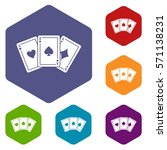 Three Aces Playing Cards Icons...