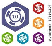 casino chip icons set rhombus... | Shutterstock .eps vector #571141807