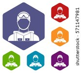 military paratrooper icons set... | Shutterstock .eps vector #571147981