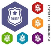 police badge icons set rhombus... | Shutterstock .eps vector #571151575