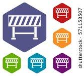 traffic barrier icons set... | Shutterstock .eps vector #571153507