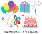 birthday theme with cake and... | Shutterstock .eps vector #571156135
