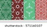 set of color floral  linear... | Shutterstock .eps vector #571160107