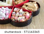 chinese snacks in tray on the... | Shutterstock . vector #571163365
