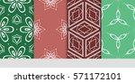 set of flower  geometric... | Shutterstock .eps vector #571172101