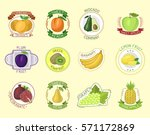 vector fruits badges. | Shutterstock .eps vector #571172869