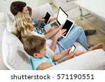 high angle view of family using ... | Shutterstock . vector #571190551