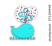 fashion patch badges with cute...   Shutterstock . vector #571194949