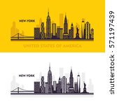 New York city skyline detailed silhouette.