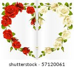 Stock vector red and white rose frame in the shape of heart 57120061