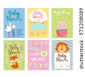 baby shower invitation vector... | Shutterstock .eps vector #571208089