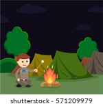 boy scout roasting marshmallow...